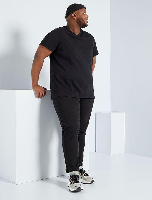 T-shirt scollo a V                                                                     nero