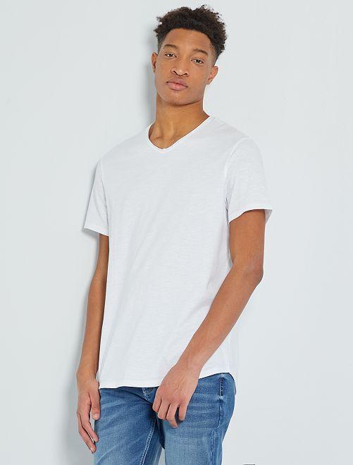 T-shirt scollo tondo +190 cm                                                                 bianco