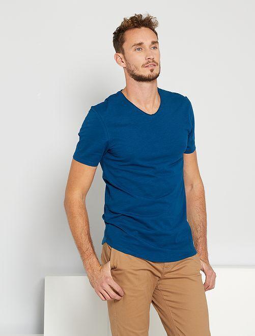 T-shirt scollo tondo +190 cm                                                                             blu