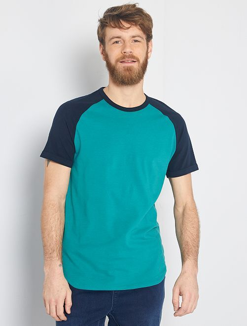 T-shirt slim bicolore 'eco-concept'                                                                             BLU