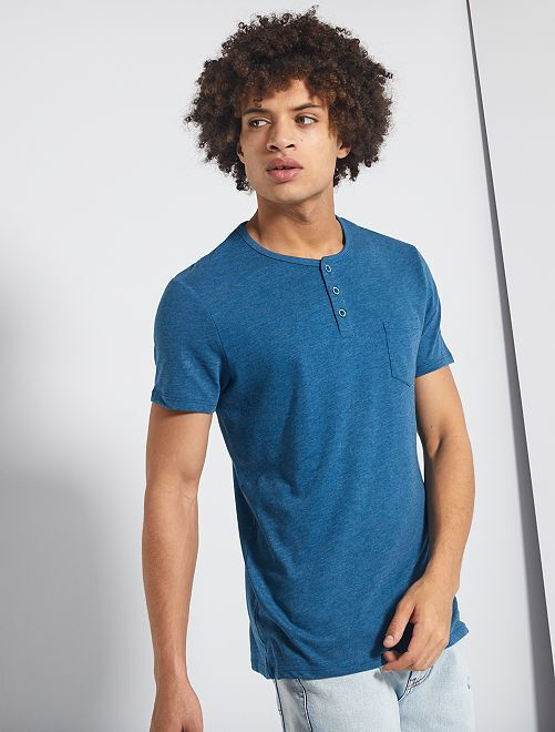 T-shirt slim collo serafino 'eco-concept'                                                                             BLU
