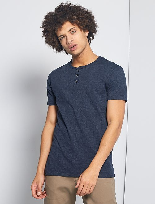 T-shirt slim collo serafino 'eco-concept'                                                                 BLU