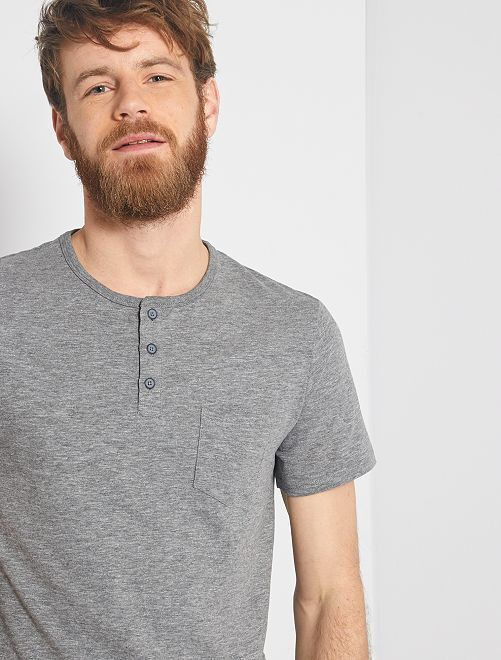 T-shirt slim collo serafino 'eco-concept'                                                                 GRIGIO
