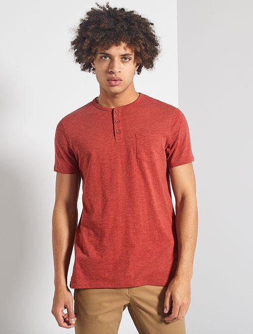 T-shirt slim collo serafino 'eco-concept'                                                                 ROSSO