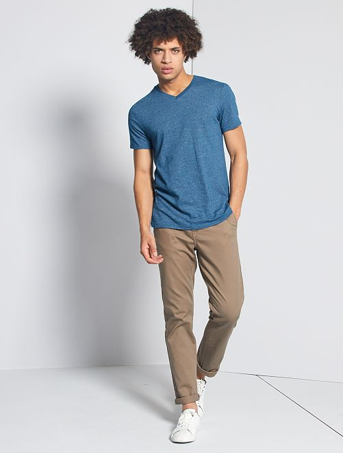 T-shirt slim scollo a V 'eco-concept'                                                                             blu