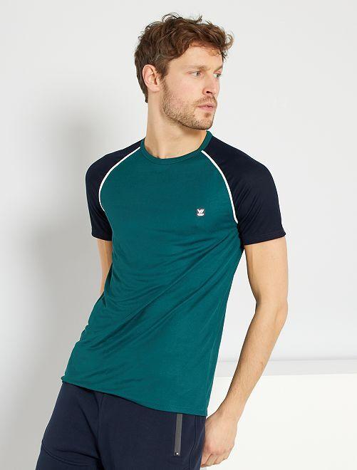 T-shirt sportiva in mesh                                         verde scuro
