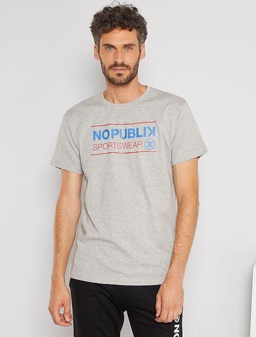 T-shirt sportswear stampata                             grigio
