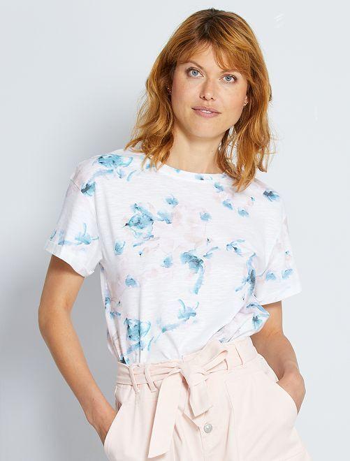 T-shirt stampa 'acquerello'                             BIANCO