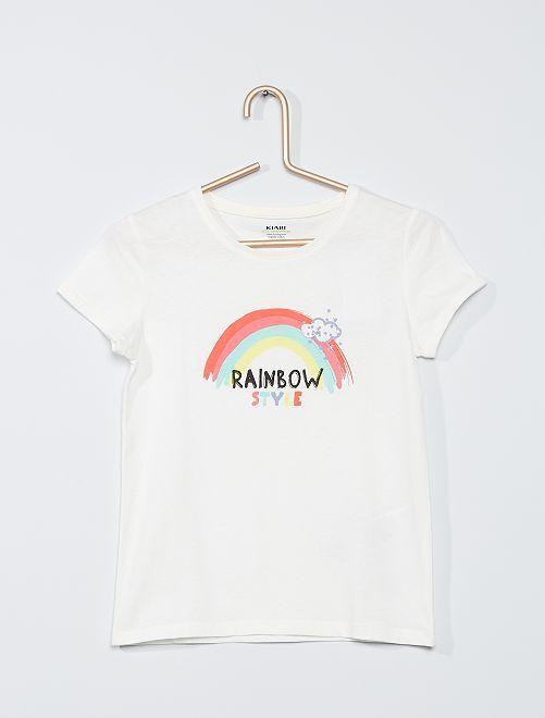 T-shirt stampa 'arcobaleno' eco-sostenibile                                                     BIANCO