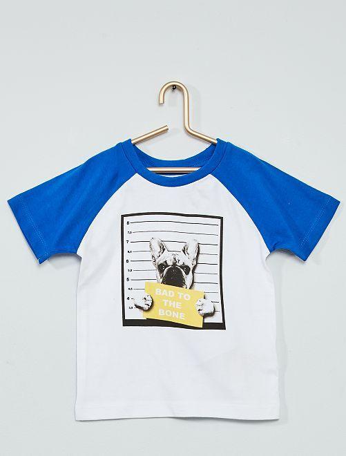 T-shirt stampa 'cane'                             bianco/blu