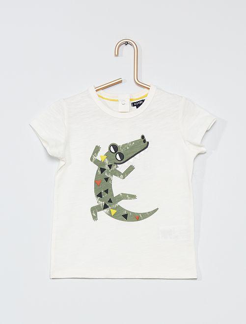 T-shirt stampa 'coccodrillo'                                         BIANCO