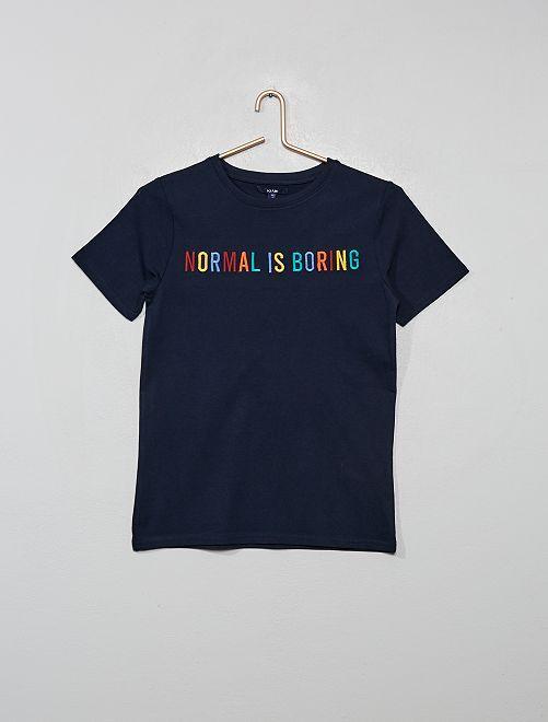 T-shirt stampa e ricamo                                                     BLU