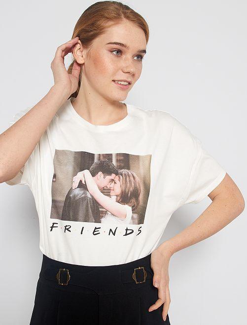 T-shirt stampa 'Friends'                             bianco neve