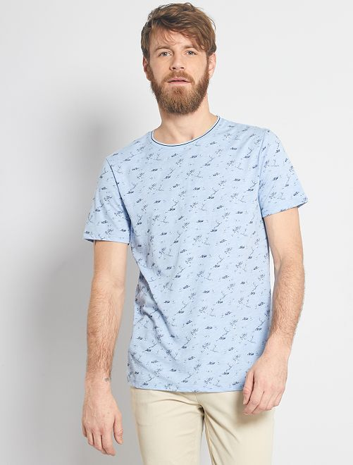 T-shirt stampa natura                                                                 BLU