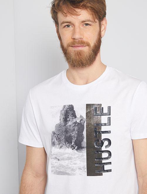 T-shirt stampa paesaggio                                                                 bianco
