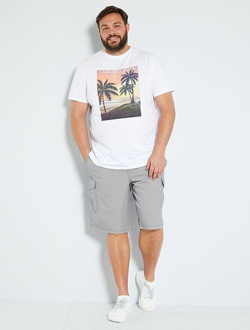 T-shirt stampa palme                                                     BIANCO