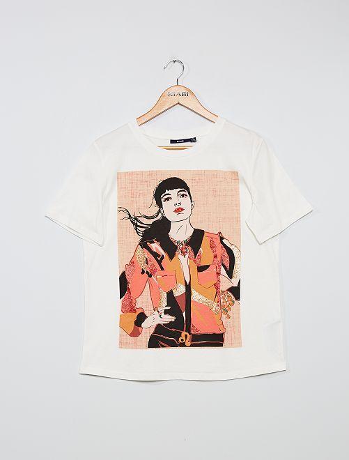 T-shirt stampa 'viso'                                                                 BIANCO