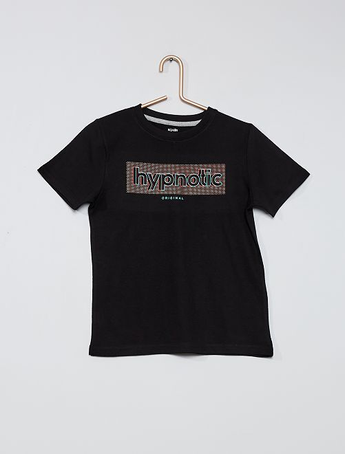 T-shirt stampata 100% cotone                                                                             NERO