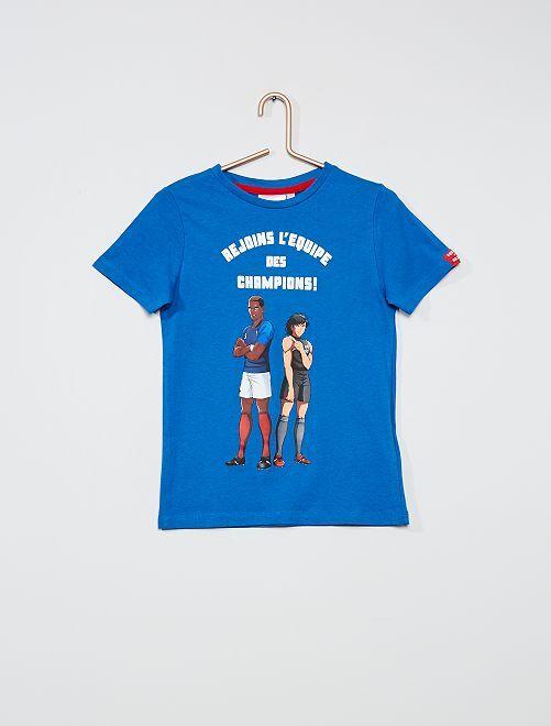 T-shirt stampata 'Captain Tsubasa'                                                     BLU