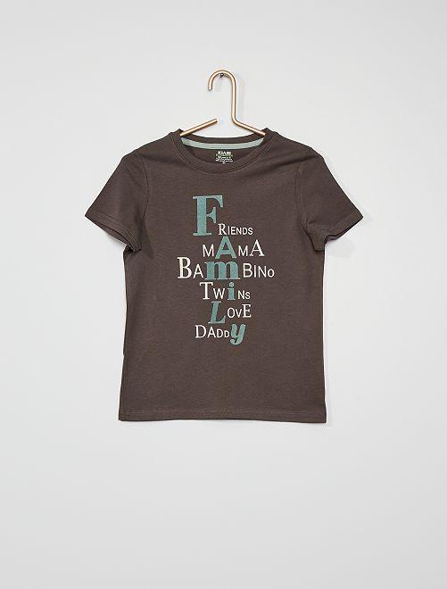 T-shirt stampata con scritta                                         GRIGIO