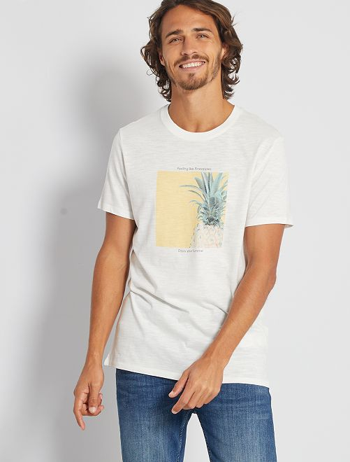 T-shirt stampata 'eco-friendly'                                                                                                                             BIANCO