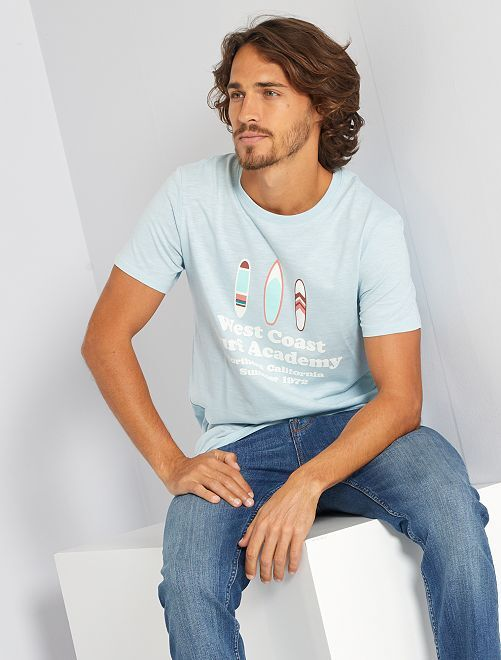 T-shirt stampata 'eco-friendly'                                                                                                                             BLU