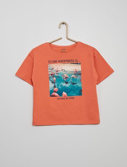 T-shirt stampata eco-sostenibile                                                                 ARANCIONE