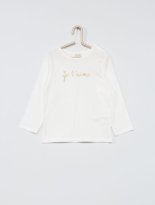 T-shirt stampata 'eco-sostenibile'                                                                             BIANCO