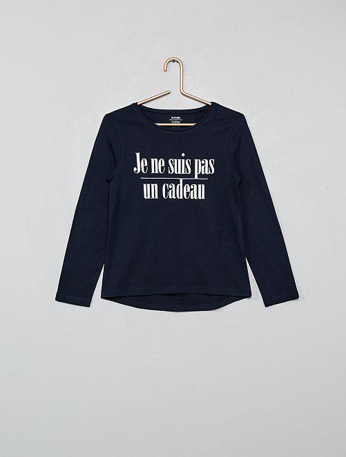 T-shirt stampata 'eco-sostenibile'                                                         BLU