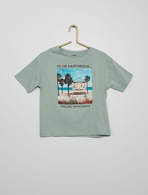 T-shirt stampata eco-sostenibile                                                                 BLU
