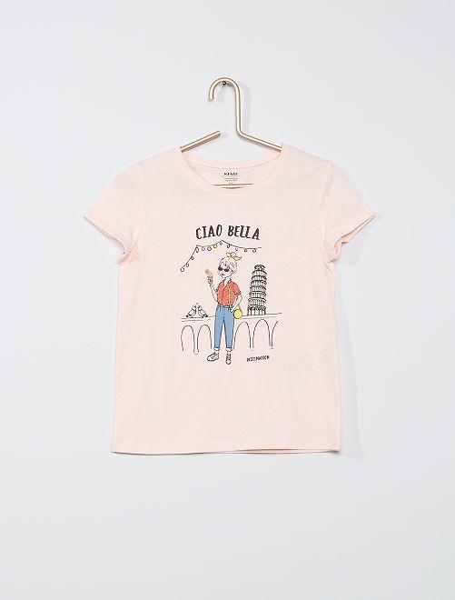 T-shirt stampa 'fiori' eco-sostenibile                                             ROSA