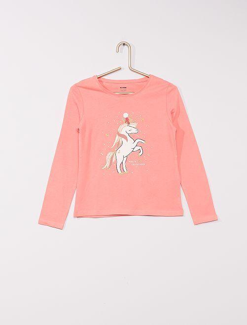 T-shirt stampata 'eco-sostenibile'                                                                                                                                                                 rosa unicorno
