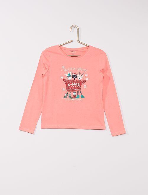T-shirt stampata 'eco-sostenibile'                                                                                                                                                     rosa xmas