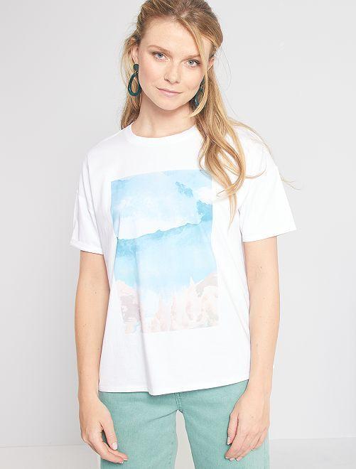 T-shirt stampata in puro cotone 'eco-friendly'                             BIANCO