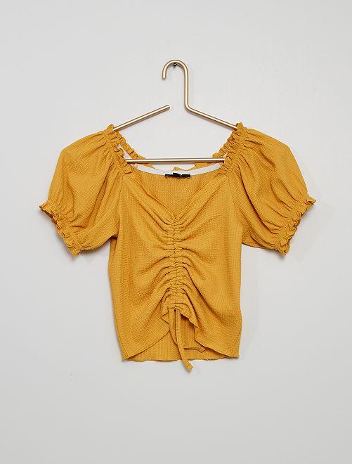 T-shirt stropicciata in maglia goffrata                                                     GIALLO
