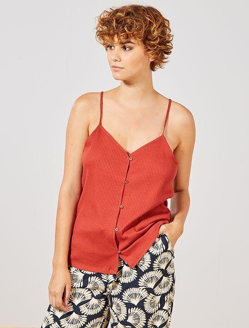 Top maglia a coste                                                     rosso ocra