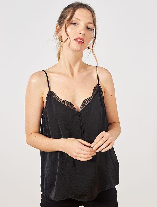 Top stile lingerie ornato di pizzo                                         nero