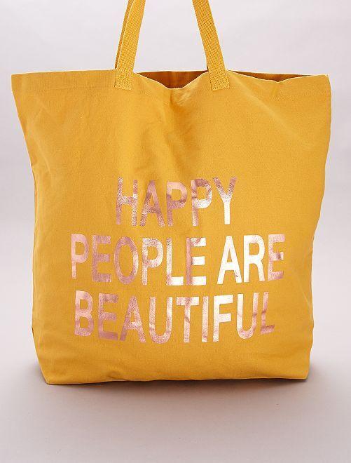 Tote bag in tessuto 'Happy People are beautiful'                             GIALLO