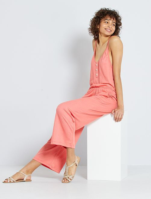 Tuta con pantaloni in maglia froissé                                                                 rosa arancione