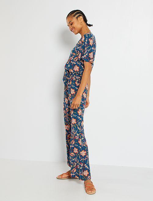 Tuta pantaloni floreale                                                                 BLU
