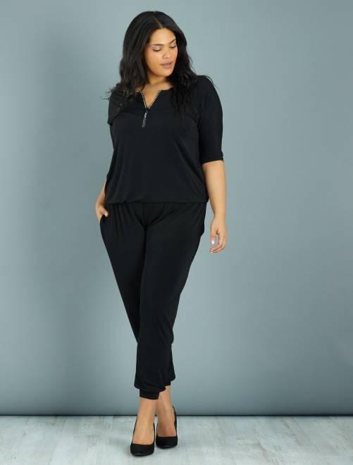Tuta pantaloni scollo zip con strass                             nero