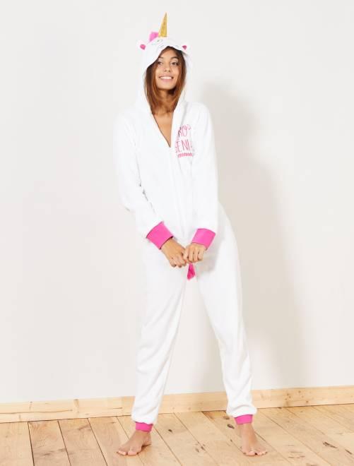 Tuta pigiama unicorno                             BIANCO Intimo dalla s alla xxl