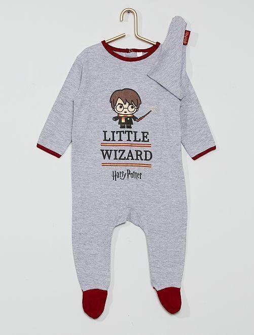 Tutina + bavaglino in cotone 'Harry Potter'                             grigio