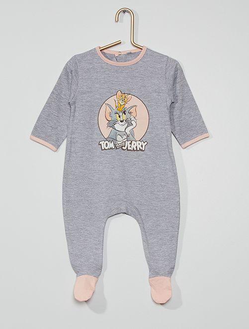 Tutina lunga in jersey 'Tom & Jerry'                             grigio