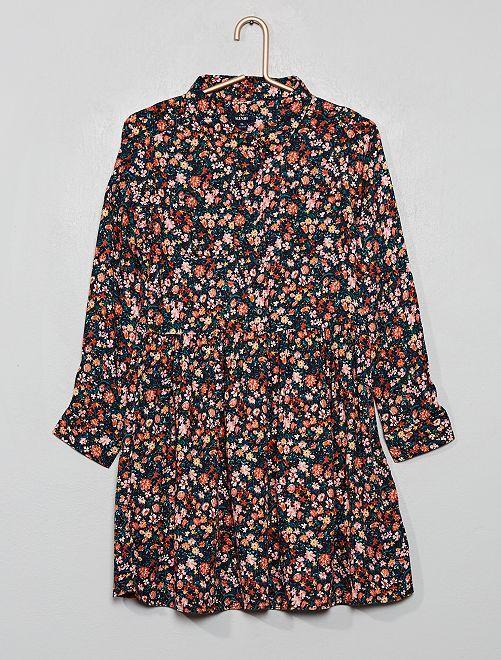 Vestito camicia stampato                                                                 BLU
