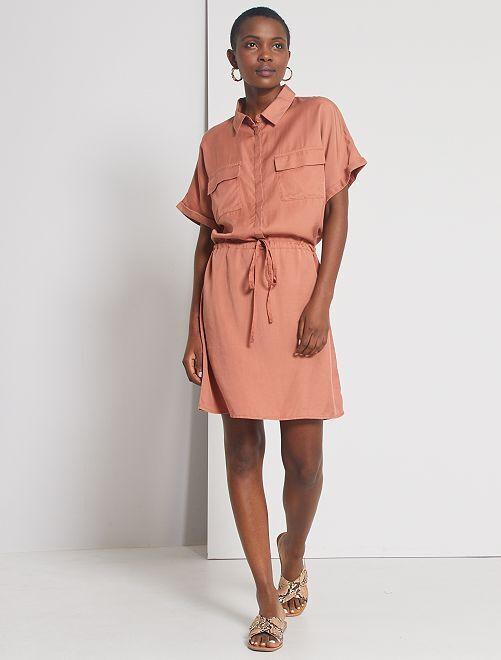 Vestito chemisier in lyocell                                                                                         fucsia