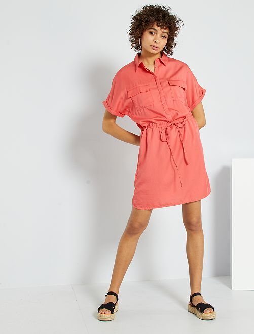 Vestito chemisier in lyocell                                         rosa arancione
