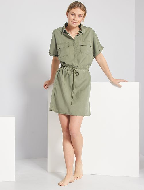 Vestito chemisier in lyocell                                                                                         verde licheno