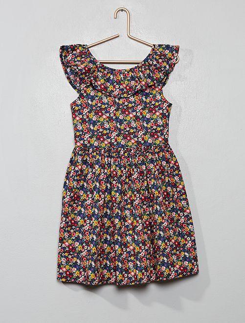 Vestito colorato popeline                                                                             BLU