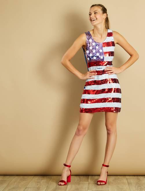 Bandiera Motivo 4 Americana Con Vestito Paillette Vista iuwOPkZXT